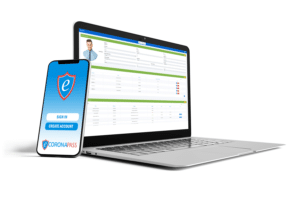 ecoronapass laptop and phone login screens